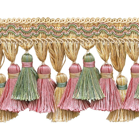 Dusty Rose  Pastel Green  Lt Gold 3 3 4   Imperial Ii Tassel Fringe Style  Tfi2 Color  Rose Garden   3549  Sold By The Yard