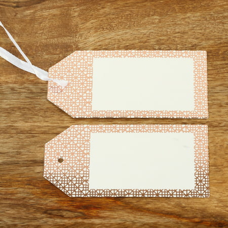 Koyal Wholesale Gift Tag Rose Gold Foil Elegant Tile Favor Tags, in Bulk 100-Pack with Gift Tag Ribbon