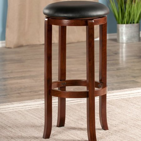 "Winsome Wood Walcott 30"" Swivel Seat Bar Stool, Black & Walnut"