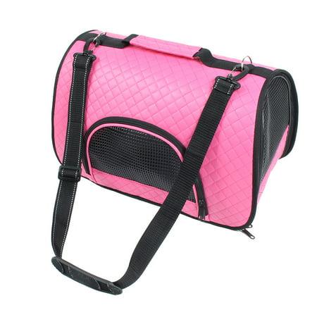Travel Soft Faux Leather Meshy Zipper Pocket Pet Dog Carrier Tote Bag Fuchsia Faux Leather Pet Carrier