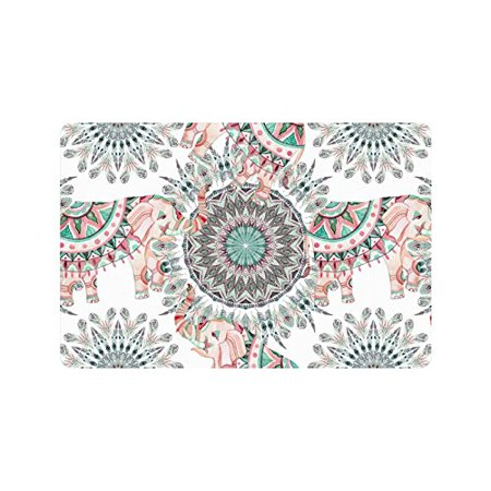 4x5 Mat - MKHERT Tribal Aztec Elephant and Feather Mandala Doormat Rug Home Decor Floor Mat Bath Mat 23.6x15.7 inch