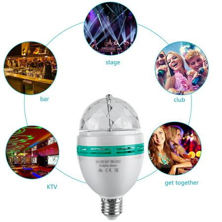 LED Full Color Rotating Disco Light Lamp Multi Change 3W Party Bulb E27 Base - image 2 de 7