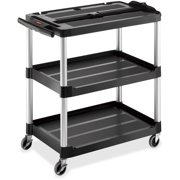 Rubbermaid Commercial Open 3-shelf Audio-Visual Cart, Black by Rubbermaid Commercial
