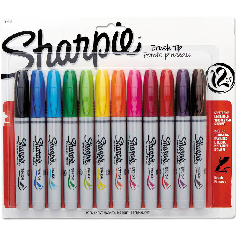 Sharpie Brush Tip Permanent Markers, 12 Assorted Colors