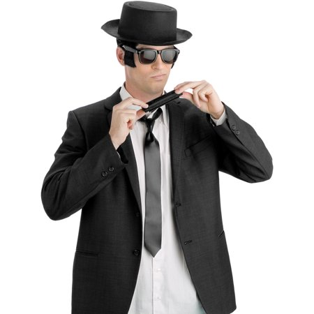 Blues Brothers Halloween (Adult Blues Man Blues Brother Hat Harmonica And Tie Costume Accessory)