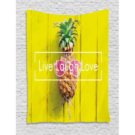 Live Laugh Love Tapestry, Tropical Pineapple Fruit with Sunglasses on Yellow Wood Board Joyful Print, Wall Hanging for Bedroom Living Room Dorm Decor, Multicolor, by Ambesonne (Pineapple With Sunglasses)