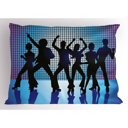 70s Party Pillow Sham Silhouettes of Couples Dancing in Night Club Energetic Classic Art Print, Decorative Standard Queen Size Printed Pillowcase, 30 X 20 Inches, Aqua Black Purple, by Ambesonne
