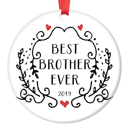 "Brother Gift for Men Christmas Ornament 2019 Dated Keepsake Best Man Friend Little Big Sibling Present Pregnancy Adoption Announcement Black White Vintage Design 3"" Ceramic Tree Decoration"