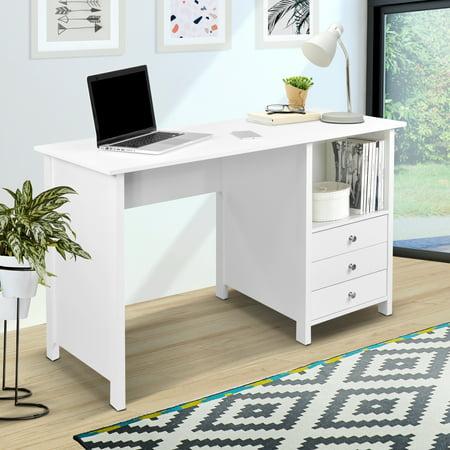 Techni Mobili Contempo Desk With 3 Storage Drawers White