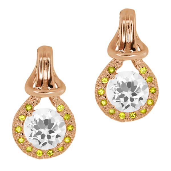 1.60 Ct Round Quartz Sapphire Gold Plated Sterling Silver  Earrings