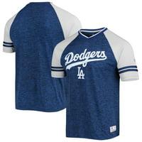 Los Angeles Dodgers Stitches Team Raglan V-Neck Jersey - Heathered Royal