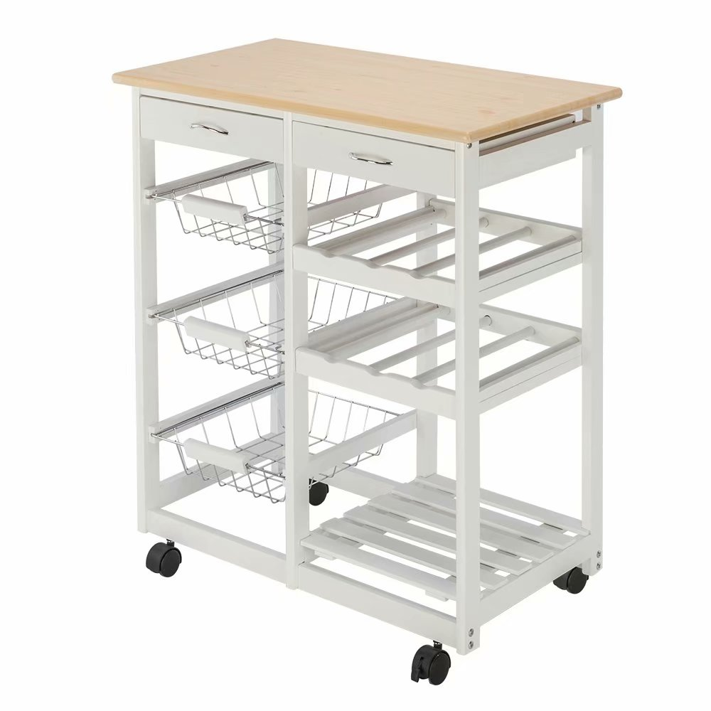 Moveable Kitchen Cart Rolling Kitchen Cart Portable Kitchen Island With Two Drawers Two Wine Racks Three Baskets For Kitchen Bar Dining Room Home Kitchen Furniture Urbytus Com