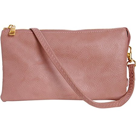 e9400ee15d9aa Vegan Leather Small Crossbody Bag or Wristlet Clutch Purse, Includes  Adjustable Shoulder and Wrist Straps, Dusty Rose, Light Pink, Blush, by  Humble Chic NY