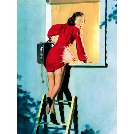Elvgren Art (A Lad Her Problem Pin-Up 1940 Print Wall Art By Gil Elvgren)