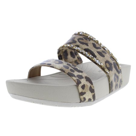 Print Slide - Bare Traps Womens Giana Rhinestones Animal Print Slide Sandals