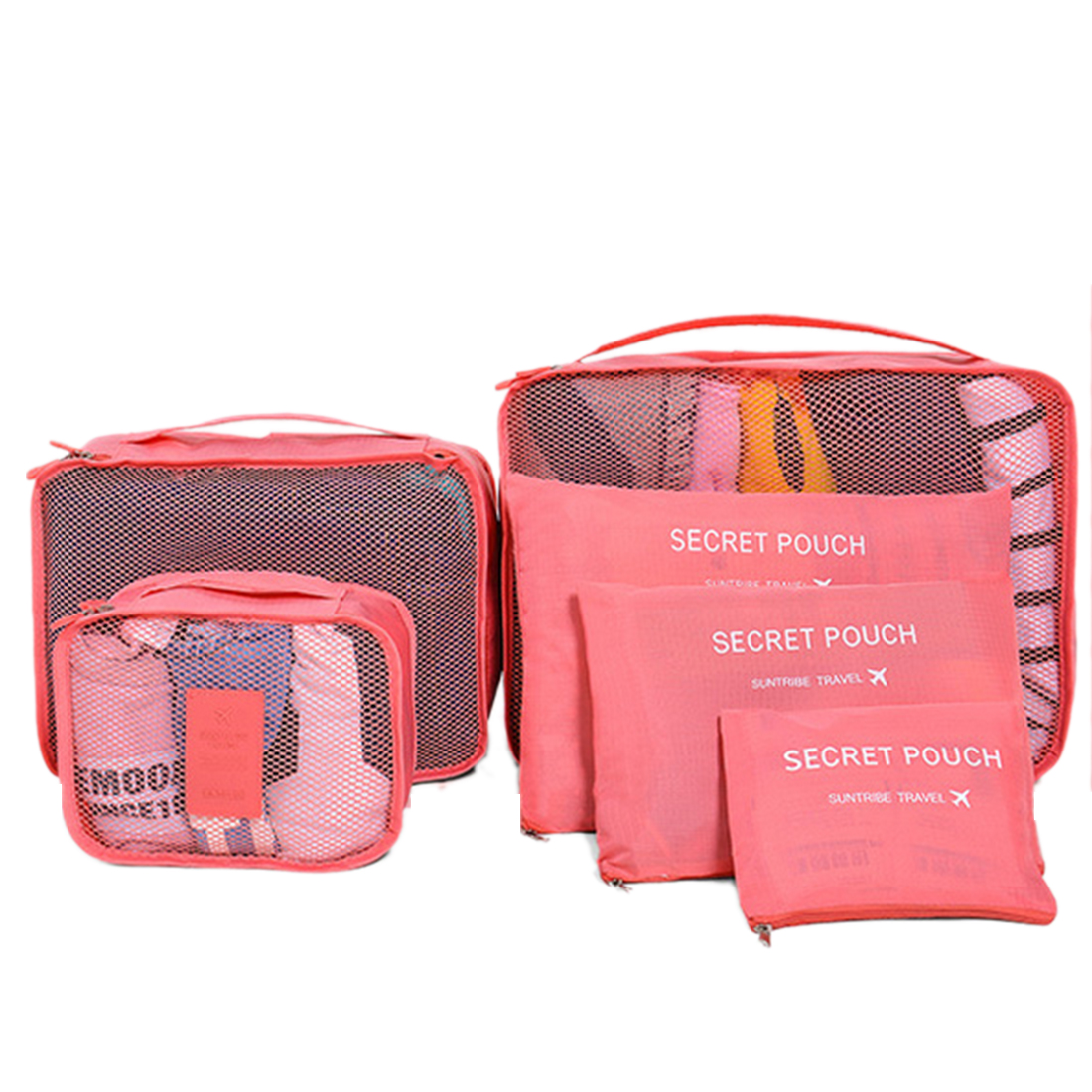 6Pcs Waterproof Travel Storage Bags Packing Cube Clothes Pouch Luggage Organizer - Watermelon Red