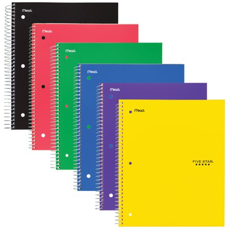 "Five Star 1 Subject College Ruled Notebook,11"" x 8 1/2"", Color Will Vary (06206)"