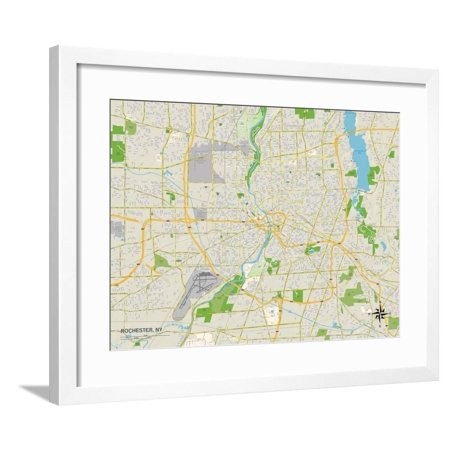 Political Map of Rochester, NY Framed Print Wall Art ()