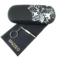 Mazzeo Hard Shell Glasses Case With Eyeglass Cleaning Cloth and Repair Tool For Men or Women