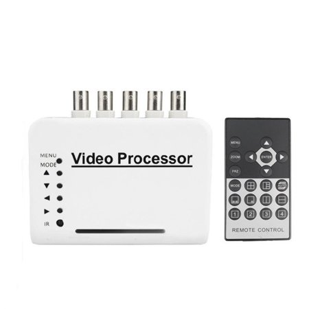 Podofo 4 Channel CCTV Video Quad Splitter Camera Processor System Kit Switcher Color Remote Control with 5 BNC Adapter