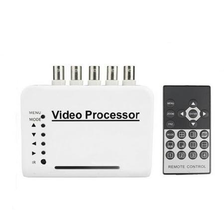 Podofo 4 Channel CCTV Video Quad Splitter Camera Processor System Kit Switcher Color Remote Control with 5 BNC - Switcher Processor