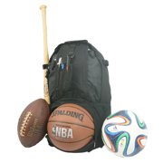 Baseball Backpack Softball Daypack Basketball Volleyball Backpack Football Soccer Bag w/ Ball Storage Helmet Compartment & Bat Holder & Coin Phone Pouch - Black