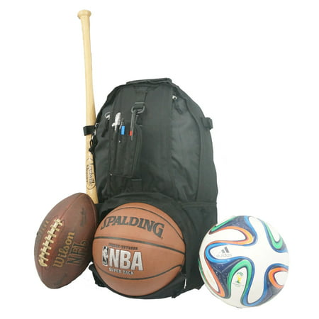 Baseball Backpack Softball Daypack Basketball Volleyball Backpack Football Soccer Bag w/ Ball Storage Helmet Compartment & Bat Holder & Coin Phone Pouch - Black
