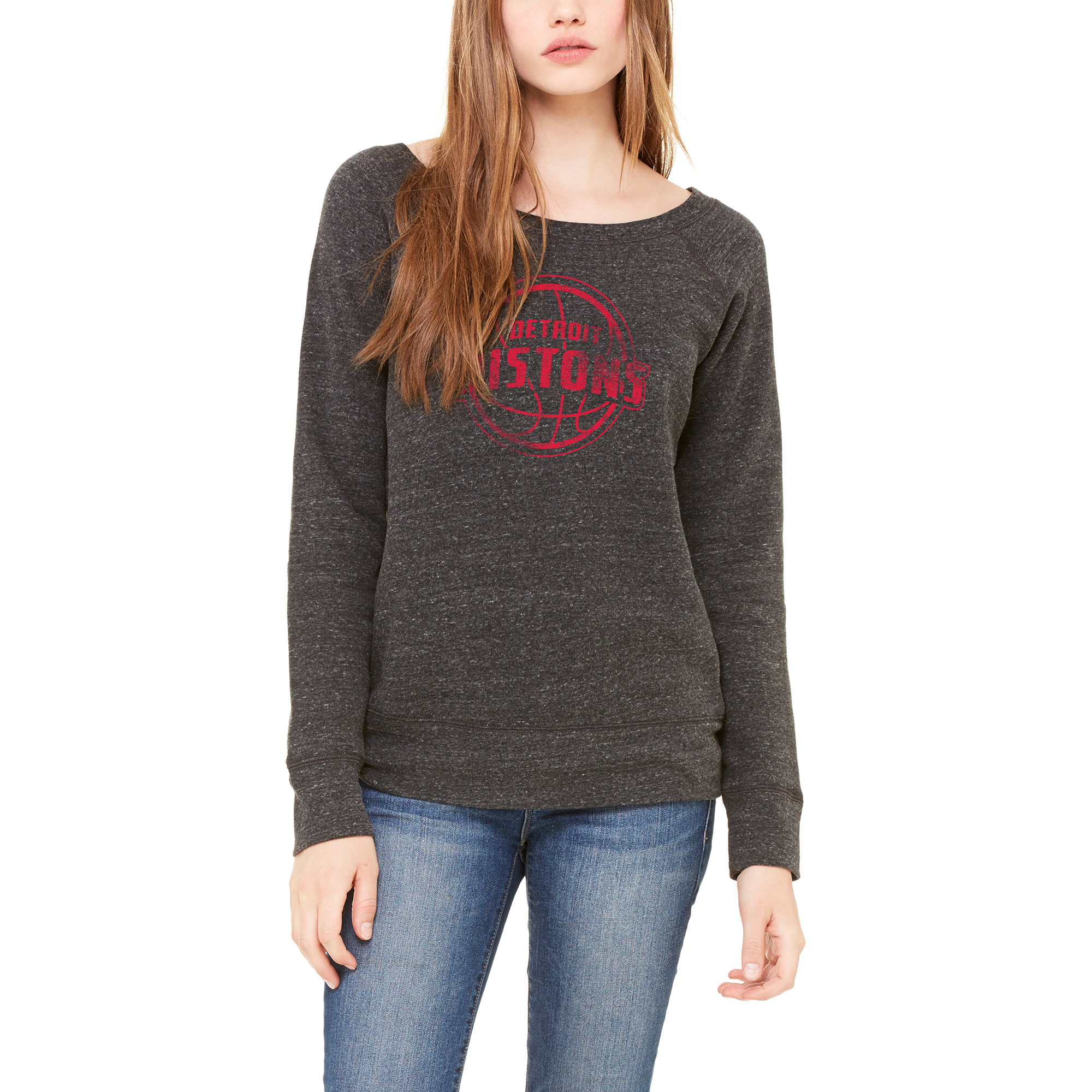 Detroit Pistons Let Loose by RNL Women's Game Day Wide Neck Sweatshirt - Heathered Charcoal