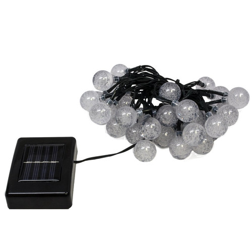 LED Concepts Solar LED Crystal Ball Style String Lights , 19.7' with 30 LED Crystal Ball Lights, 2 Mode Setting, Red, Green, Blue