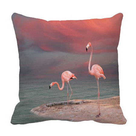 PHFZK Watercolor Animal Pillow Case, Tropical Beach Pink Flamingo Pillowcase Throw Pillow Cushion Cover Two Sides Size 18x18 inches