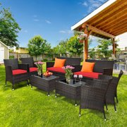 Gymax 8PCS Patio Rattan Conversation Furniture Set Outdoor w/ Red Cushion