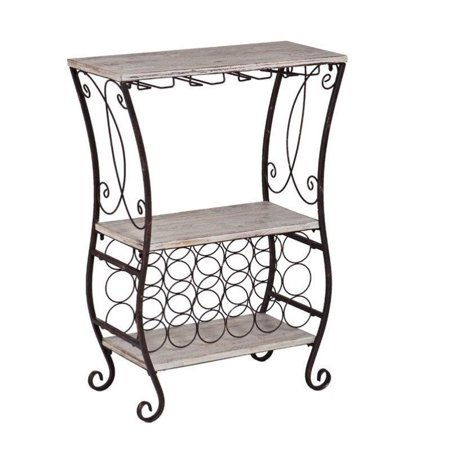 Southern Enterprises Arcino Wine Storage Table in Gray and Rust - image 5 de 6