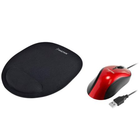 Insten Red Usb 2 0 Ergonomic Optical Scroll Wheel Mouse   Black Wrist Comfort Mouse Pad