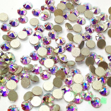 Swarovski 144 pieces Crystal AB (001 AB) NEW 2088 Xirius ss20 round Flat backs Rhinestones 5mm 1 gross (Multi Colored Swarovski Crystal Rhinestone)
