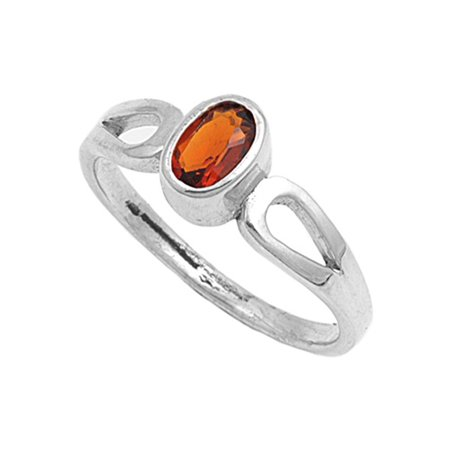 Oval Simulated Garnet Polished Bezel Ring New .925 Sterling Silver Band Size 5