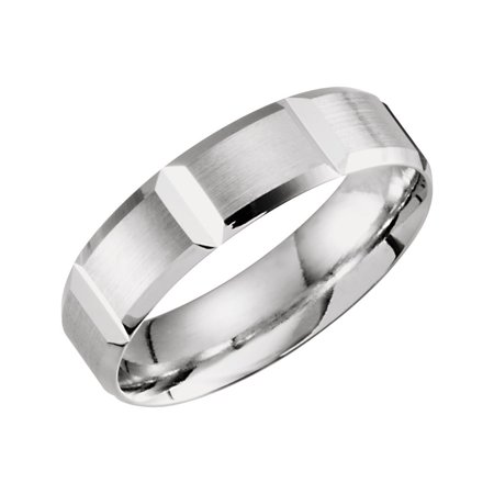 - 10k White Gold Size 10 6mm Polished Light Weight Grooved Beveled Band Ring - 5.0 Grams