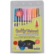 Marvy Puffy Velvet Fabric Markers - Fluorescent Colors, Set - 6