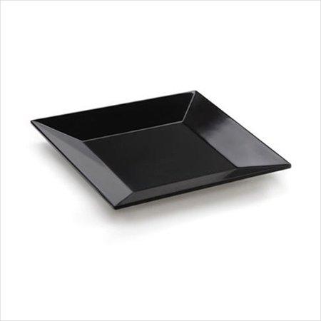 Siciliano 8 inch Square Plate Black Melamine/Case of 12 - Black Square Plates