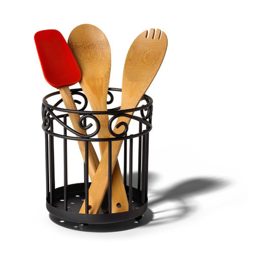 Spectrum Diversified Scroll Pantryware Grande Utensil Holder in Black (Set of 3)