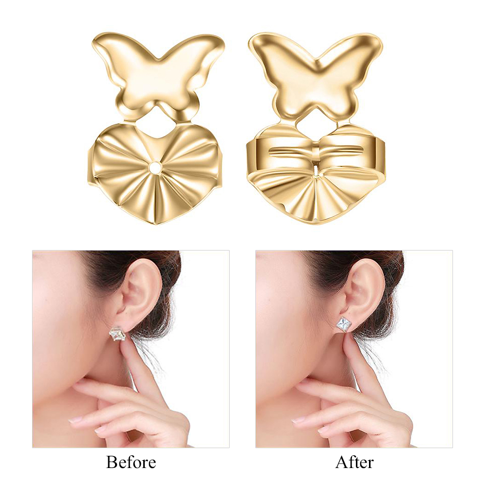 Earring Lifters 1 Pairs/Set Earrings Back Nut Lifters Lift Copper Ear Lobe Support Earrings Back Lifters