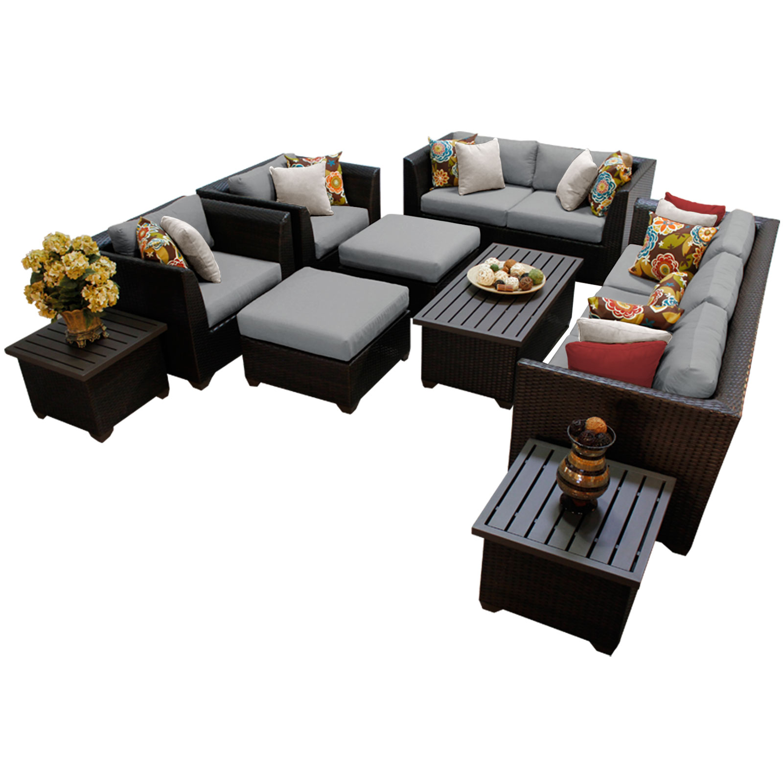 Bermuda 12 Piece Outdoor Wicker Patio Furniture Set 12d   Walmart.com
