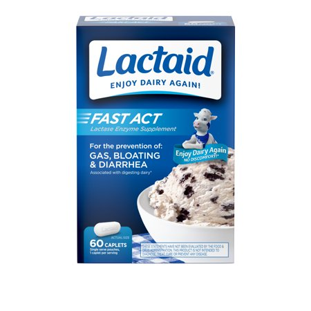 Lactaid Fast Act Lactose Intolerance Caplets, 60 Travel Packs of