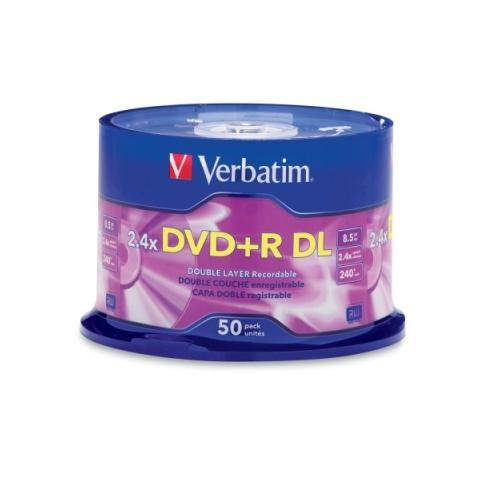 Verbatim 96577 DVD Recordable Media - DVD+R DL - 2.4x - 8.50 GB - 50 Pack Spindle 2CT6619