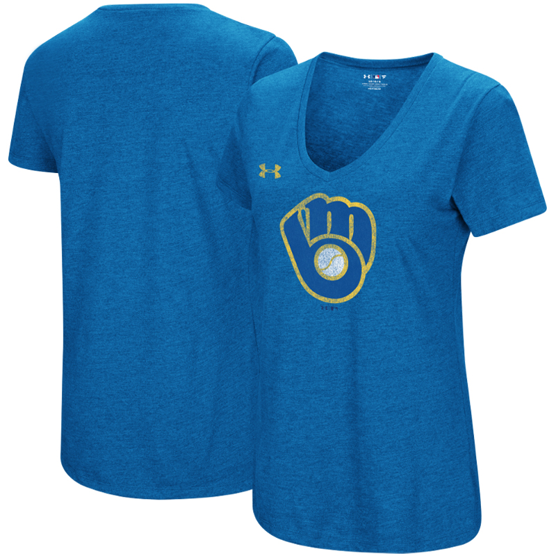 Milwaukee Brewers Under Armour Women's Cooperstown Collection Logo Performance Tri-Blend V-Neck T-Shirt - Heathered Royal