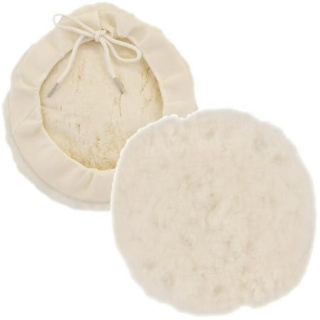 "6"" Natural 100% Wool 1"" Pile Buffing & Polishing Pad Bonnet"