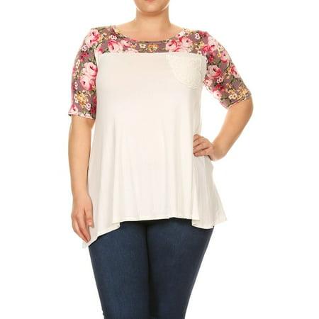 bad538596d8 NMC - Women's PLUS trendy style multi fabric top - Walmart.com