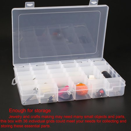 YUNDAP 36 Slots Compartments Clear Plastic Adjustable Jewelry Storage Box Case Beads Home Craft Organizer - image 8 de 8