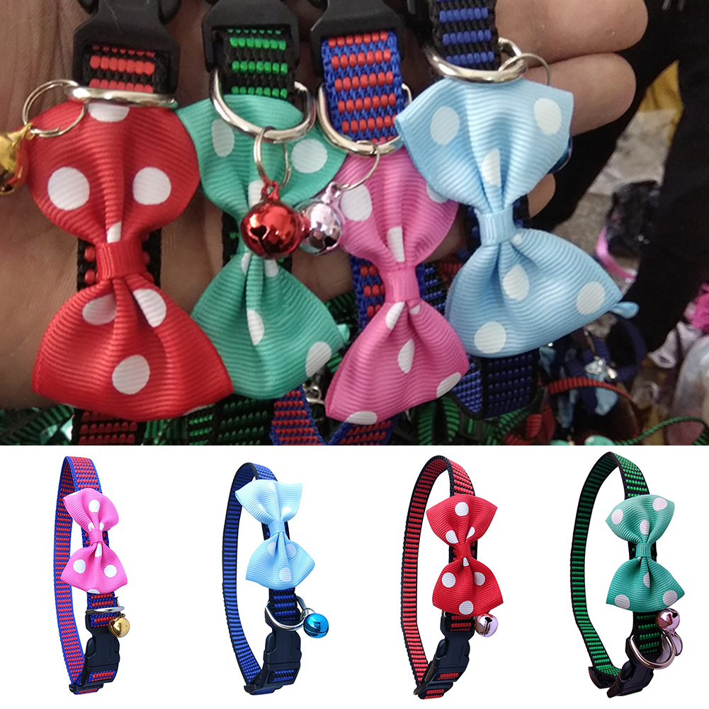 Moderna Cute Polka Dot Bow Tie Nylon Pet Dog Collar Adjustable Puppy Necklace with Bell