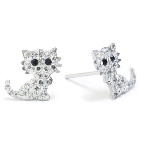 Sterling Silver Pave Crystal Cat Stud Earrings](Cat Ear Ring)