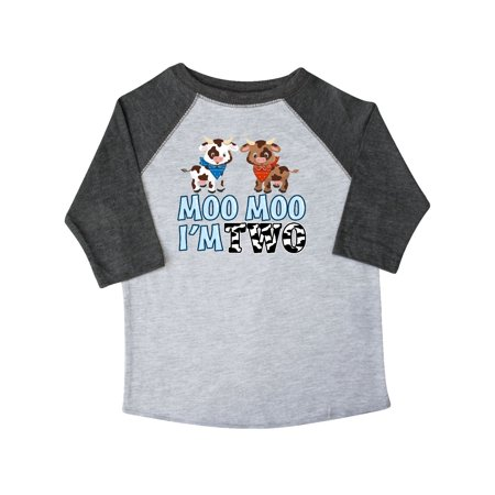 Moo Moo I'm 2 with Cute Holstein Cows Toddler T-Shirt